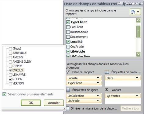 Excel Tableau croisé dyamique: Filtrer les données avec le filtre du rapport
