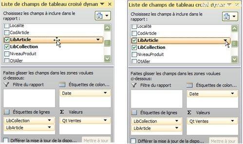 Tableaux croisés dynamiques: Accéder aux filtres