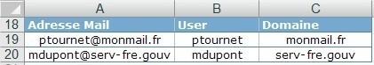 Excel Isoler le nom et le domaine d'une adresse mail