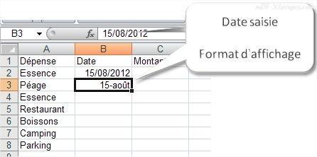 Excel Saisir des dates