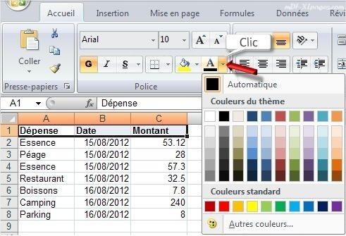 Excel modifier la couleur de la police de caractères