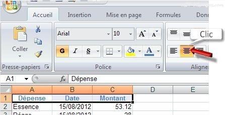 Excel Centrer les données