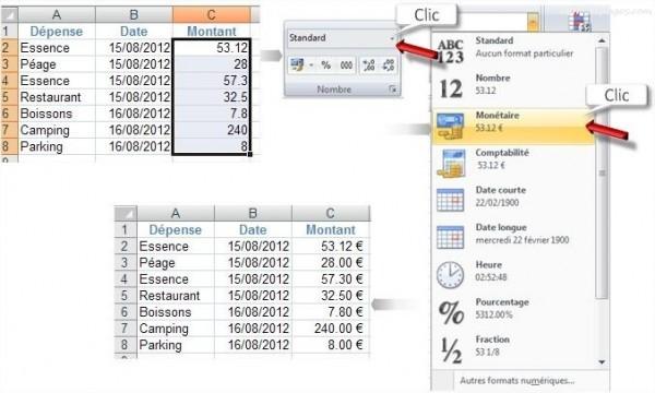 Excel Format monétaire