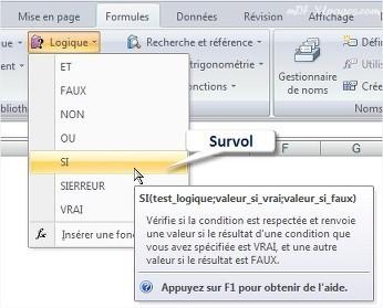 Excel Info-bulle sur une fonction