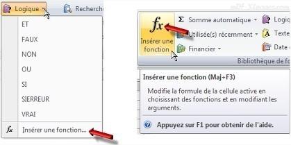 Excel Insérer une fonction
