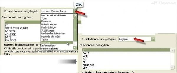Excel choix des catégories de fonctions