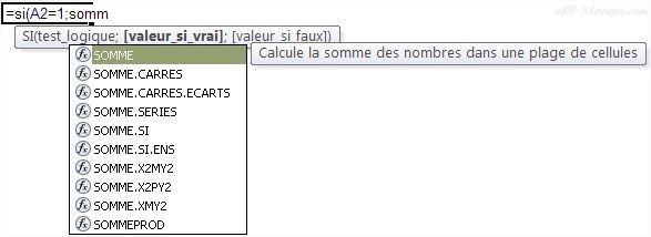 Excel Saisie semi-automatique de fonction