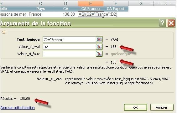 Excel Fenêtre Arguments de la fonction