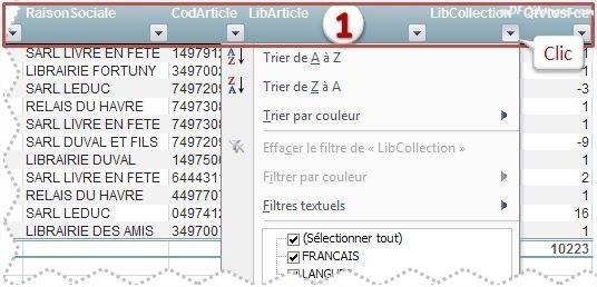 Excel Outil Tableau: Ligne d'en-tête