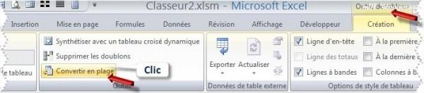 Excel Convertir un Tableau en plage