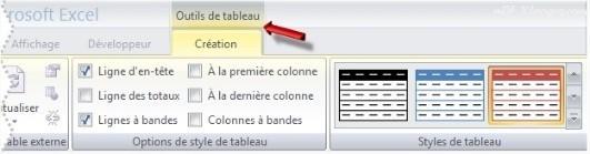 Excel Modifier le style d'un tableau