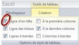 Excel Mettre en forme laligne d'en-tête d'un Tableau