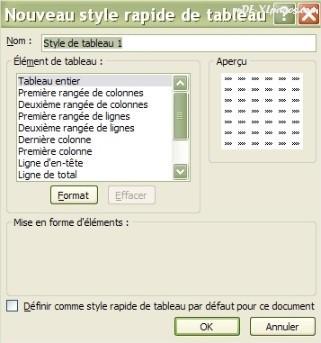 Excel Créer un nouveau style de Tableau