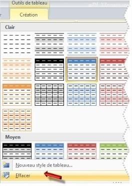 Excel Effacer un Style de Tableau