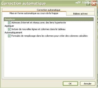 boîte de dialogue Correction automatique