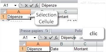 Excel Modifier le contenu d'une cellule