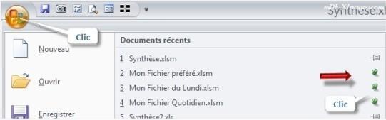 Excel Fixer un fichier dans la liste des fichiers récents