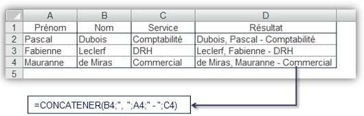 Fonction CONCATENER() 1