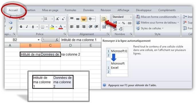 Excel Passer à la ligne dans une cellule