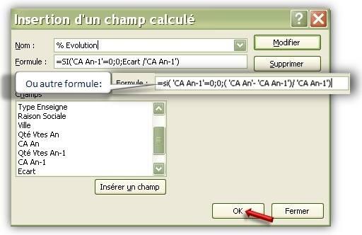 Calcul d'évolution pour le champ calculé