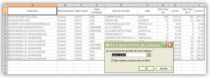 Excel Plage de données d'un Tableau