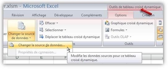 TCD - Modifier la source des données