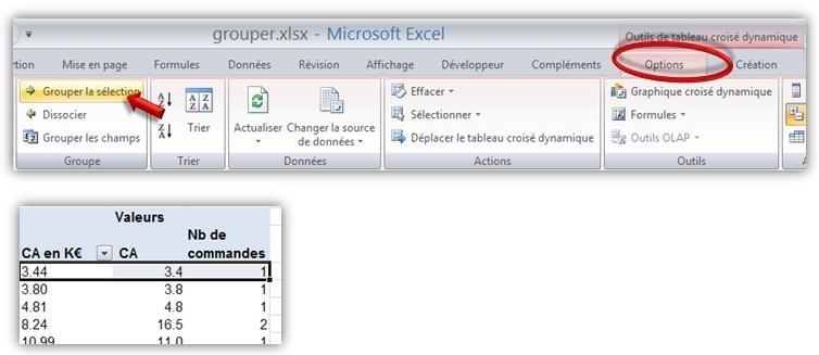Excel Grouper des champs numériques dans un Tableau Croisé Dynamique