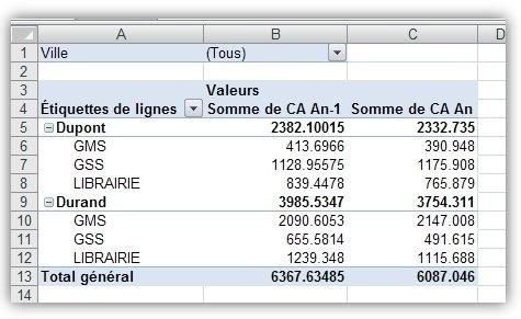 Mon 1er TCD avec Excel 2007